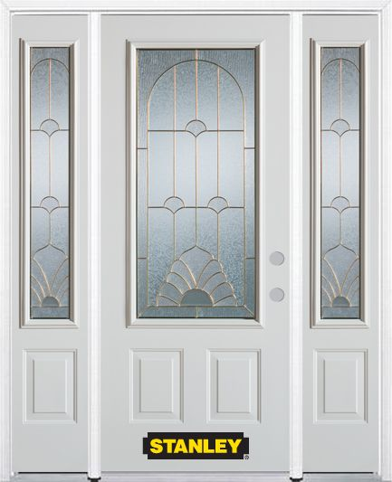 64-inch x 82-inch Florentine 3/4-Lite 2-Panel White Steel Entry Door with Sidelites and Brickmoul...