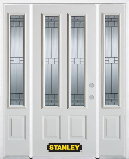 64-inch x 82-inch Seattle 2-Lite 2-Panel White Steel Entry Door with Sidelites and Brickmould
