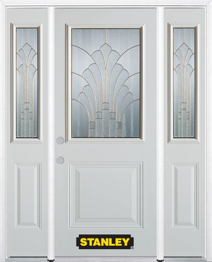 64-inch x 82-inch Gladis 1/2-Lite 1-Panel White Steel Entry Door with Sidelites and Brickmould