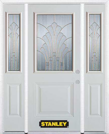 66-inch x 82-inch Gladis 1/2-Lite 1-Panel White Steel Entry Door with Sidelites and Brickmould
