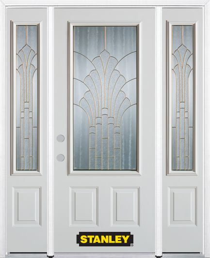 68-inch x 82-inch Gladis 3/4-Lite 2-Panel White Steel Entry Door with Sidelites and Brickmould