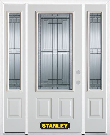 64-inch x 82-inch Seattle 3/4-Lite 2-Panel White Steel Entry Door with Sidelites and Brickmould