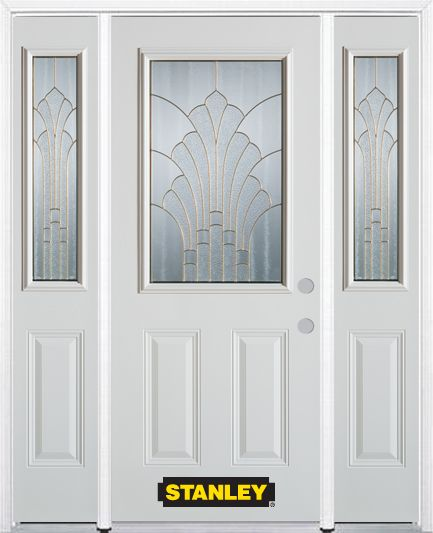 64-inch x 82-inch Gladis 1/2-Lite 2-Panel White Steel Entry Door with Sidelites and Brickmould