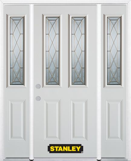66-inch x 82-inch Queen Anne 2-Lite 2-Panel White Steel Entry Door with Sidelites and Brickmould
