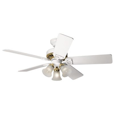 42 In. Beacon Hill - White W/ Bright Brass Accents Ceiling Fan