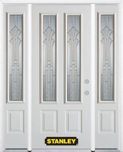 Porte dentrée en acier préfini en blanc, munie de deux panneaux et de deux verre, 66 po x 82 po a...