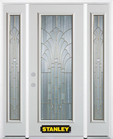 68-inch x 82-inch Gladis Full Lite Finished White Steel Entry Door with Sidelites and Brickmould