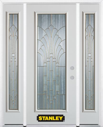 64-inch x 82-inch Gladis Full Lite Finished White Steel Entry Door with Sidelites and Brickmould