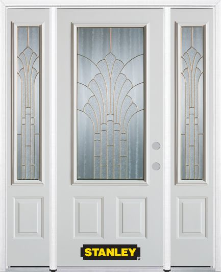 64-inch x 82-inch Gladis 3/4-Lite 2-Panel White Steel Entry Door with Sidelites and Brickmould