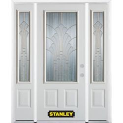Stanley Doors 64.5 inch x 82.375 inch Gladis Brass 3/4 Lite 2-Panel Prefinished White Left-Hand Inswing Steel Prehung Front Door with Sidelites and Brickmould - ENERGY STAR®