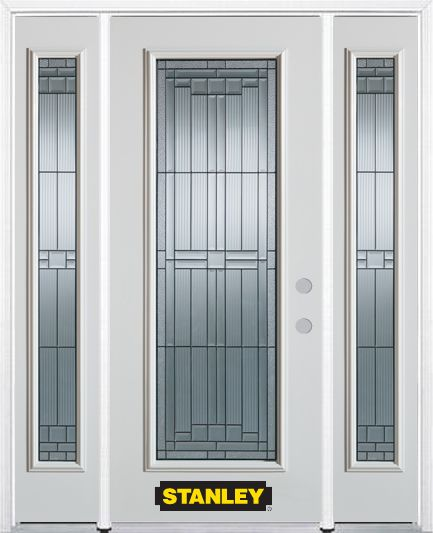64-inch x 82-inch Seattle Full Lite Finished White Steel Entry Door with Sidelites and Brickmould
