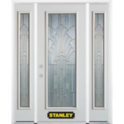 Stanley Doors 66.5 inch x 82.375 inch Gladis Brass Full Lite Prefinished White Right-Hand Inswing Steel Prehung Front Door with Sidelites and Brickmould