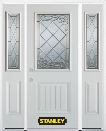 64-inch x 82-inch Queen Anne 1/2-Lite 1-Panel White Steel Entry Door with Sidelites and Brickmoul...
