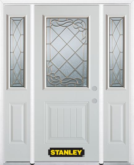 64-inch x 82-inch N/A 1/2-Lite 1-Panel Finished White Steel Entry Door with Sidelites and Brickmo...