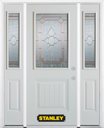 68-inch x 82-inch Rochelle 1/2-Lite 1-Panel White Steel Entry Door with Sidelites and Brickmould