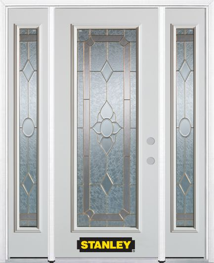 68-inch x 82-inch Rochelle Full Lite Finished White Steel Entry Door with Sidelites and Brickmoul...