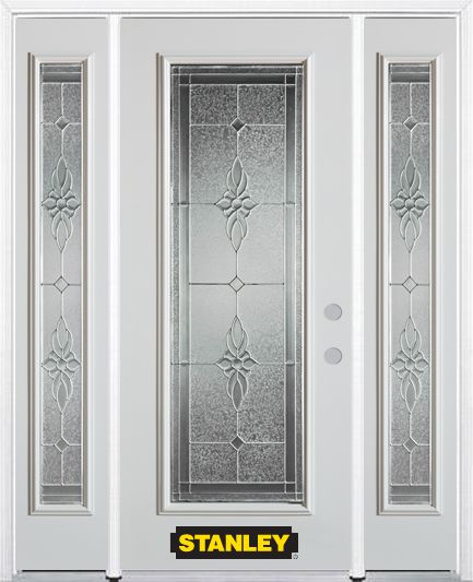 64-inch x 82-inch Victoria Full Lite Finished White Steel Entry Door with Sidelites and Brickmoul...