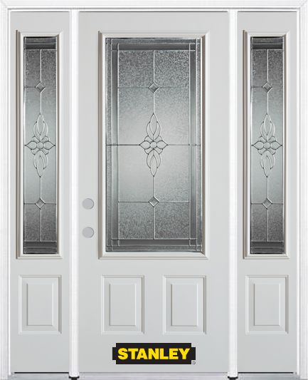 68-inch x 82-inch Victoria 3/4-Lite 2-Panel White Steel Entry Door with Sidelites and Brickmould