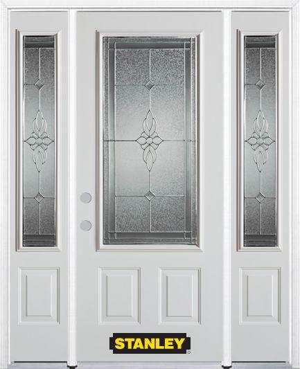 Porte dentrée en acier préfini en blanc, munie de deux panneaux et dun 3/4 verre, 64 po x 82 po a...