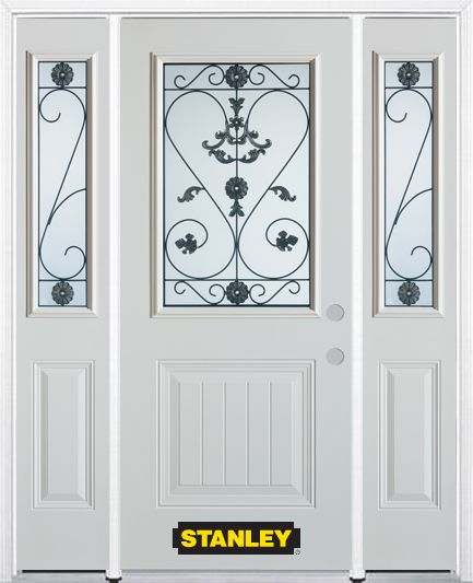 64-inch x 82-inch Blacksmith 1/2-Lite 1-Panel White Steel Entry Door with Sidelites and Brickmoul...