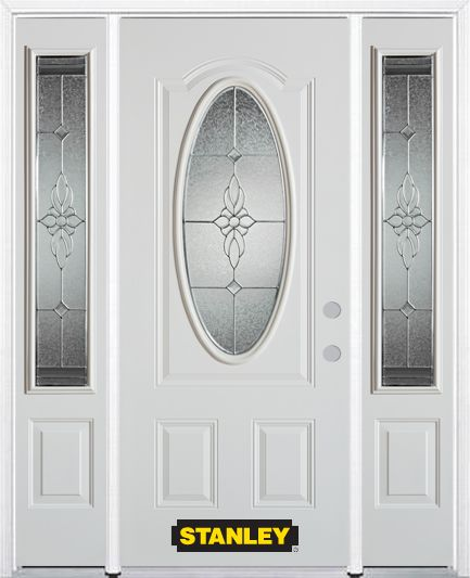 Stanley Doors 68.5 inch x 82.375 inch Victoria Brass 3/4 Oval Lite 2-Panel Prefinished White Left-Hand Inswing Steel Prehung Front Door with Sidelites and Brickmould