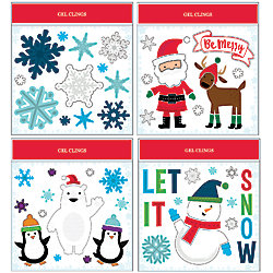 Home Accents Holiday 11-inch x 12-inch Christmas Gel Window Clings (Assorted Styles)