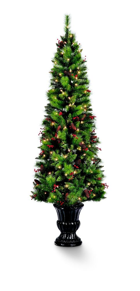 6.5 ft Pre-Lit Decorated Colorado Pine Christmas Tree