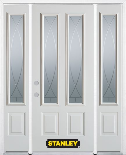 66-inch x 82-inch Bourgogne 2-Lite 2-Panel White Steel Entry Door with Sidelites and Brickmould