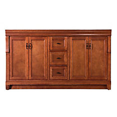 Naples 60-inch W Bath Vanity Cabinet Only in Warm Cinnamon for Double Bowl