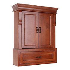 Naples 26-3/4-inch W Bathroom Storage Wall Cabinet in Warm Cinnamon