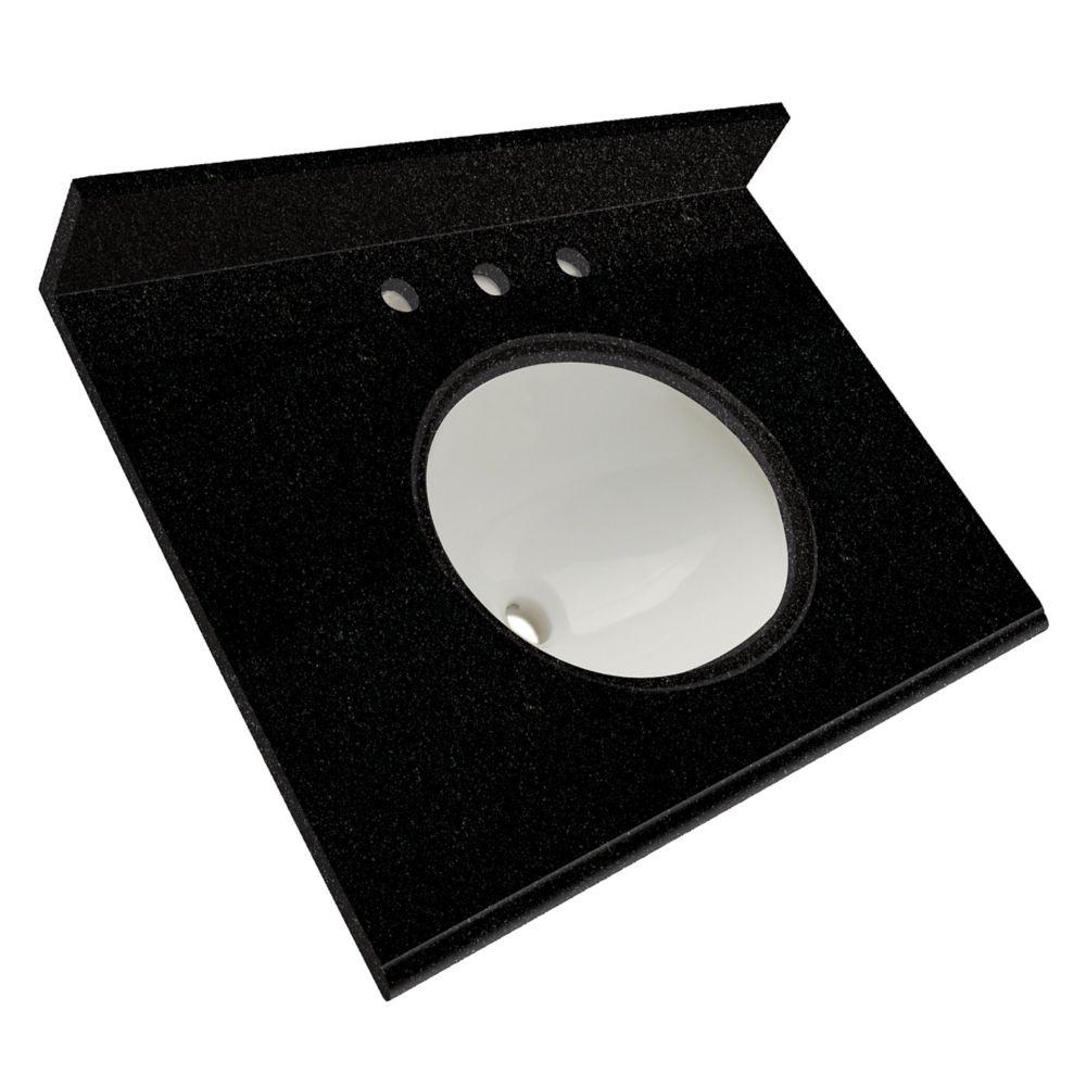 Dessus de meuble-lavabo en granite Noir tempête 25 po