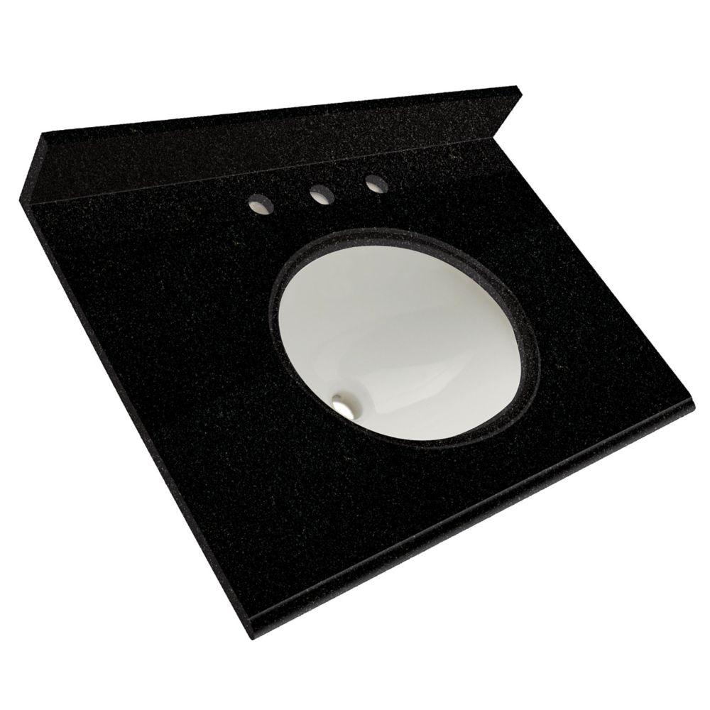 Dessus de meuble-lavabo en granite Noir tempête 31 po