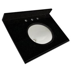 Foremost International Dessus de meuble-lavabo en granite Noir tempête 31 po