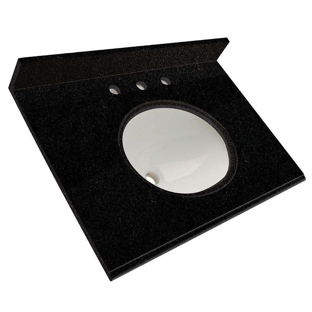 Foremost 31-Inch W x 22-Inch D Granite Vanity Top in Tempest Black
