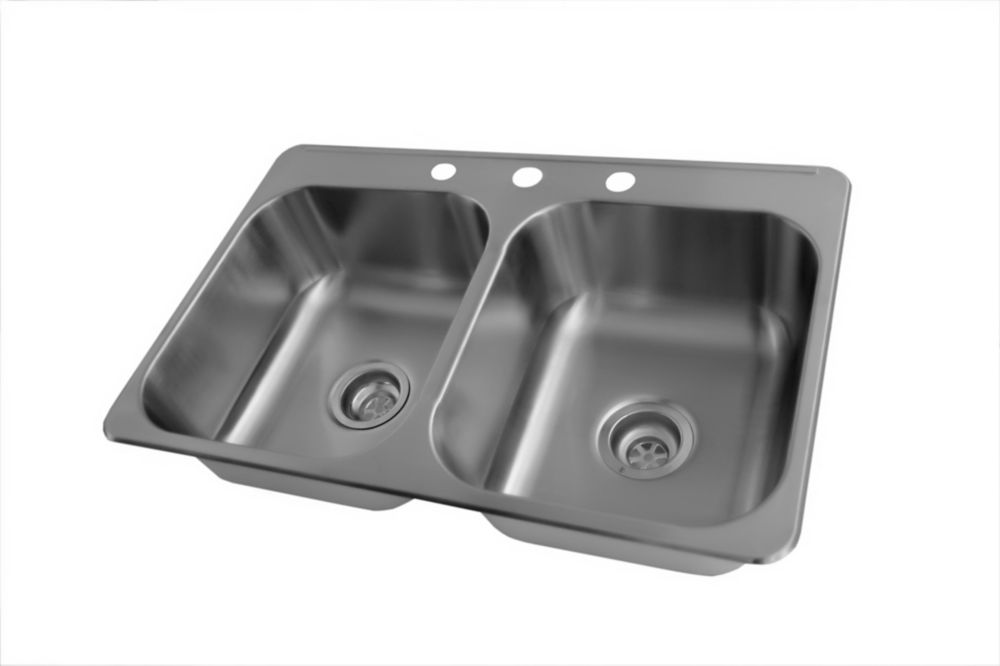 Stainless Steel Double Bowl Kitchen Sink, 3 Faucet Holes