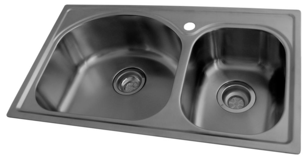 Stainless Steel Double Bowl Kitchen Sink, Large and Small Bowls