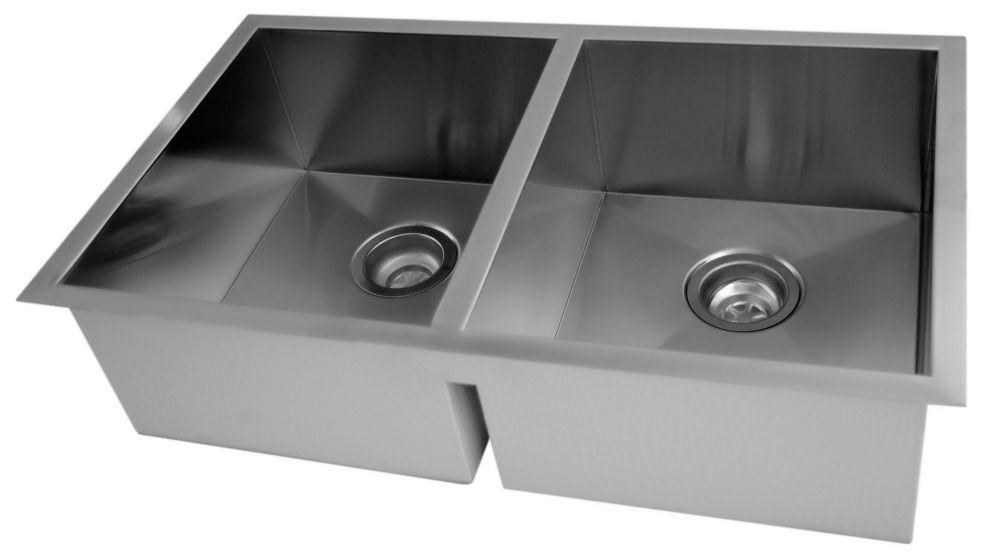 Cuve Double Carrée avec Coins Arrondis