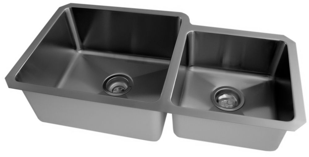 Stainless Steel Undermount Double Bowl Kitchen Sink With Small Radius Corners