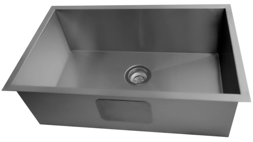 Acri-Tec 30 x 18 Stainless Steel Large Bowl Undermount Kitchen Sink With Square Contemporary Corners