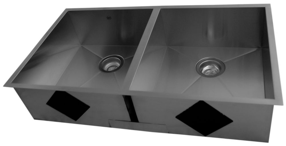 Stainless Steel Undermount Double Bowl Kitchen Sink With Square Contemporary Corners