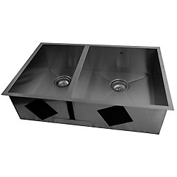 Acri-Tec 29 1/2 x 19 1/4 Stainless Steel Undermount Double Bowl Kitchen Sink With Square Contemporary Corners
