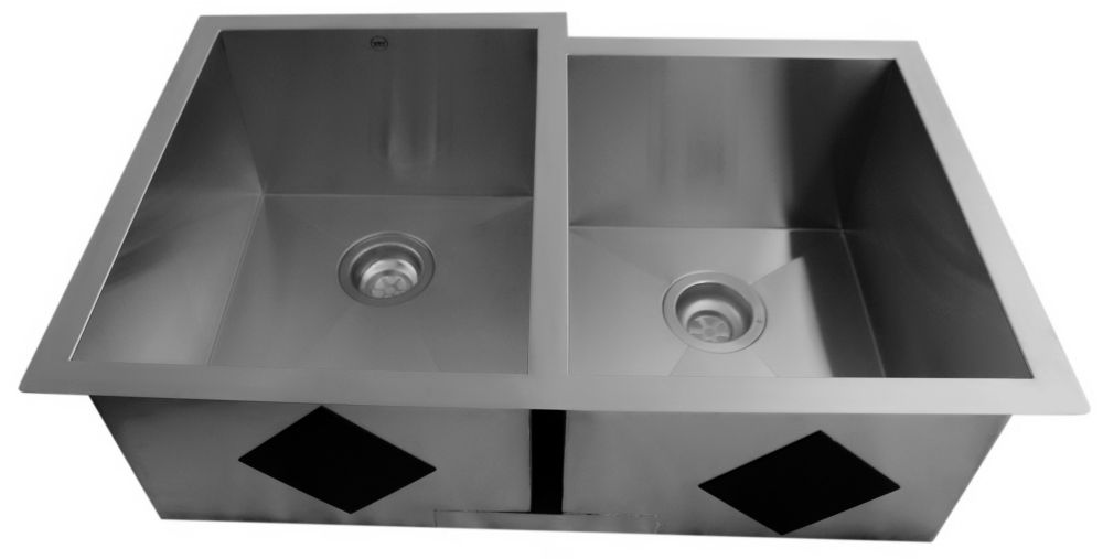 Acri-Tec 31 1/4 x 18 1/2 Stainless Steel Undermount Double Bowl Kitchen Sink With Square Contemporary Corners