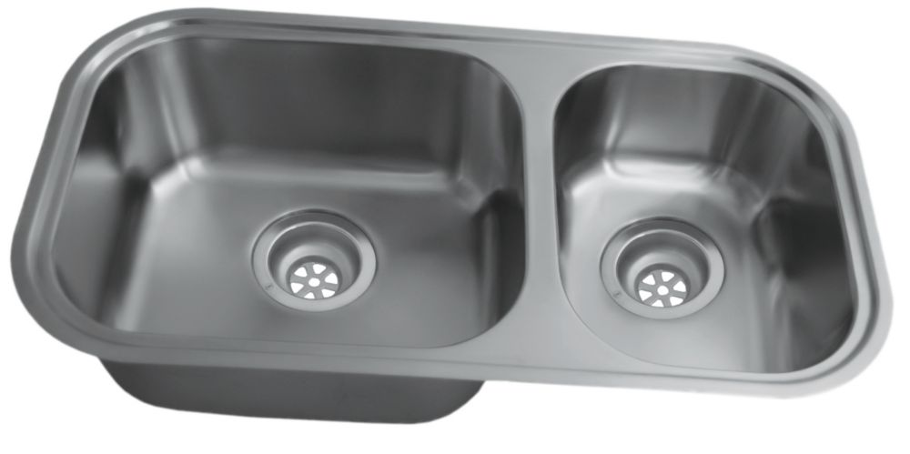 Acri-Tec 29 5/8 x 15 7/8 Stainless Steel Undermount Kitchen Sink With Large and Small Bowls