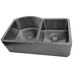 Acri-Tec 32 x 20 Stainless Steel Double Bowl Undermount Kitchen Sink With Apron