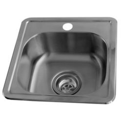Acri-Tec 15 x 15 Stainless Steel Bar Sink, Single Bowl with Single-Hole Faucet Drilling