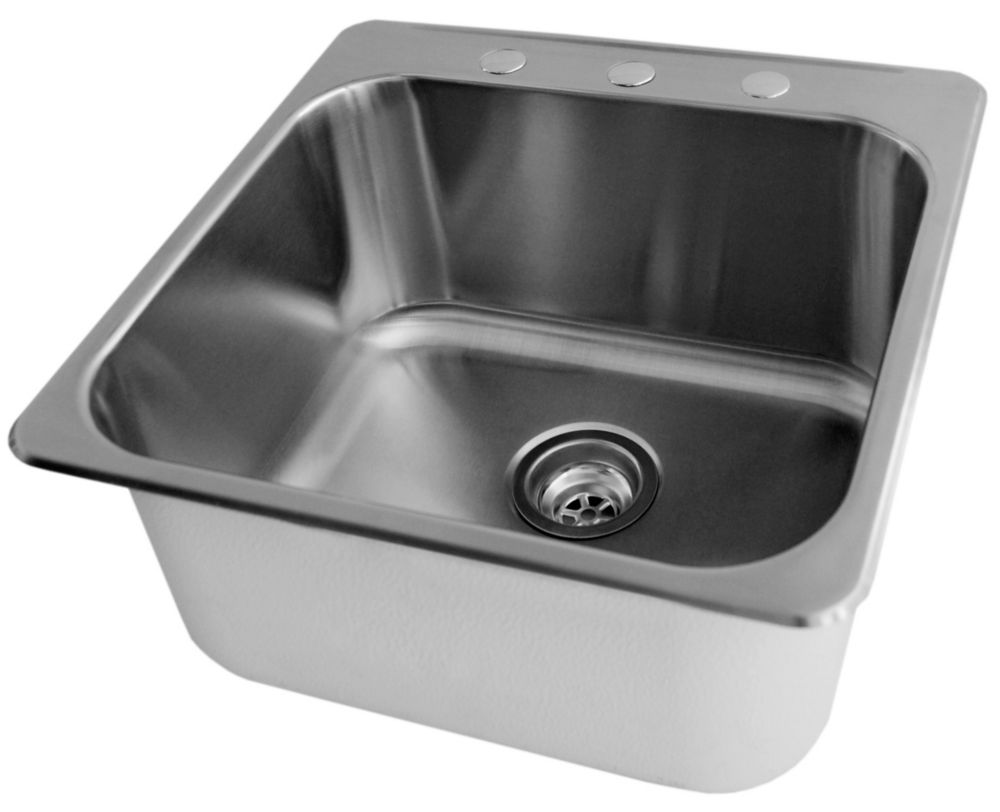 Acri tec stainless steel laundry sink 20 x 20 1 2 x 7 for Evier de buanderie avec meuble