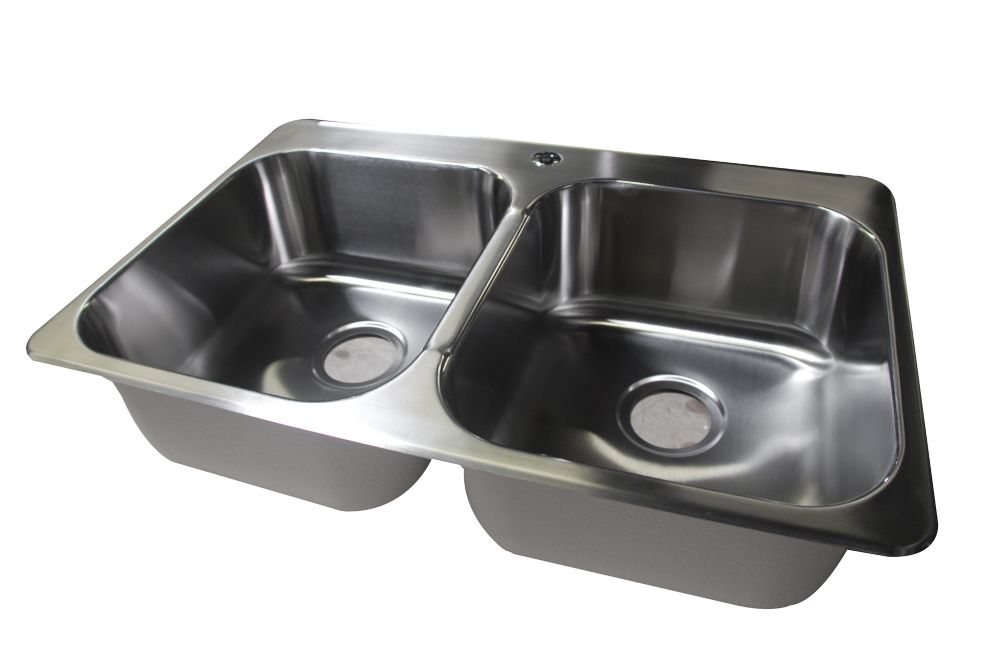 Stainless Steel Double Bowl Kitchen Sink, Single Faucet Hole