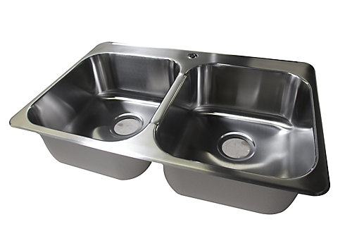 31 1 4 X 20 3 8 Stainless Steel Double Bowl Kitchen Sink Single Faucet Hole