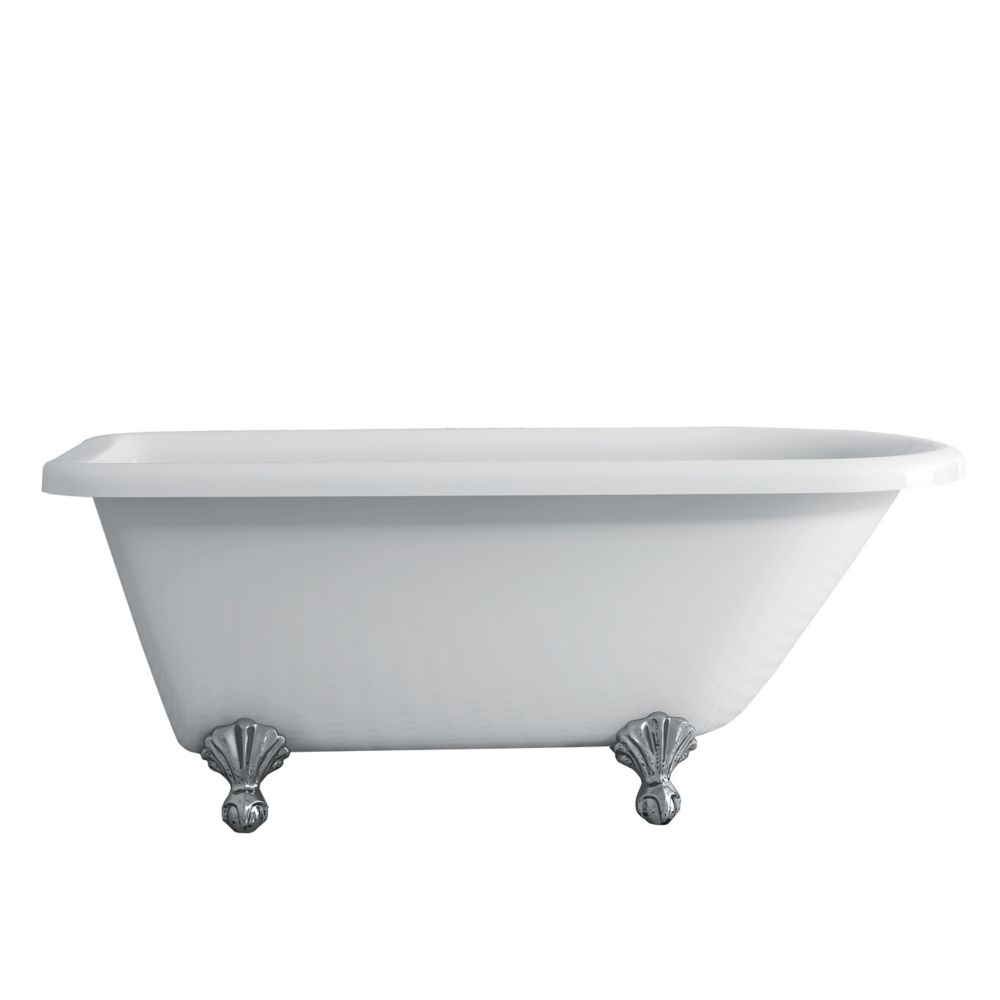 Acri-Tec Antique 5 Feet 6-Inch Clawfoot Bathtub with Chrome Legs
