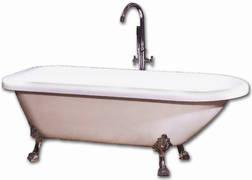 Antique 5 Feet 6-Inch Rolled Fibreglass Clawfoot Bathtub with Brushed Nickel Legs